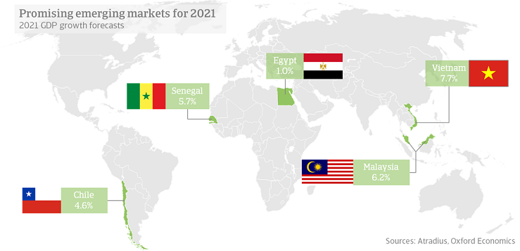 Promising emerging markets for 2021