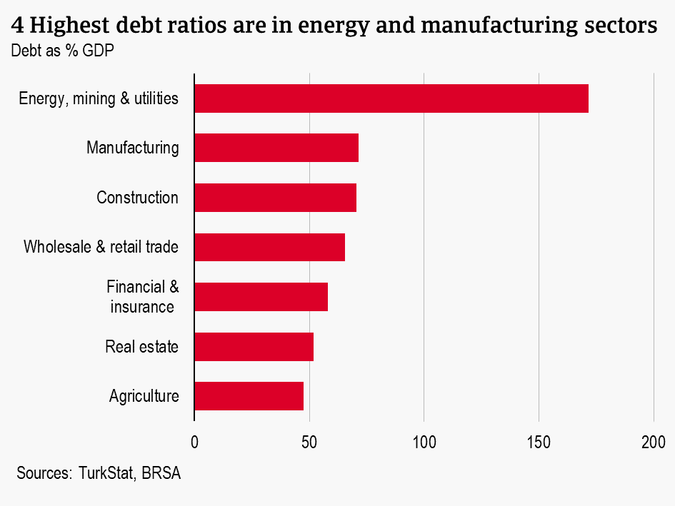 4 Highest debt ratios are in energy and manufacturing sectors
