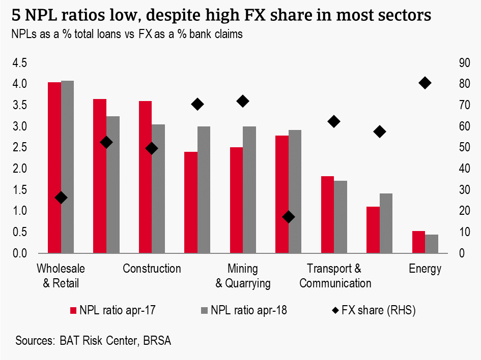 5 NPL ratios low, despite high FX share in most sectors