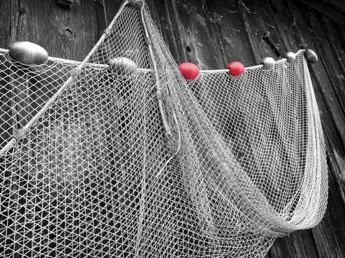 Fishing nets hanging up to dry